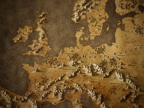 Callum Ogden – Map of Europe in a Fantasy Tolkien Style I